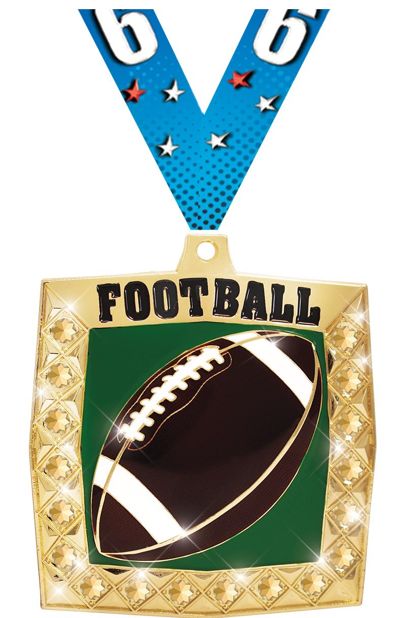"2 1/4"" Football Bling 4.0 Medals"