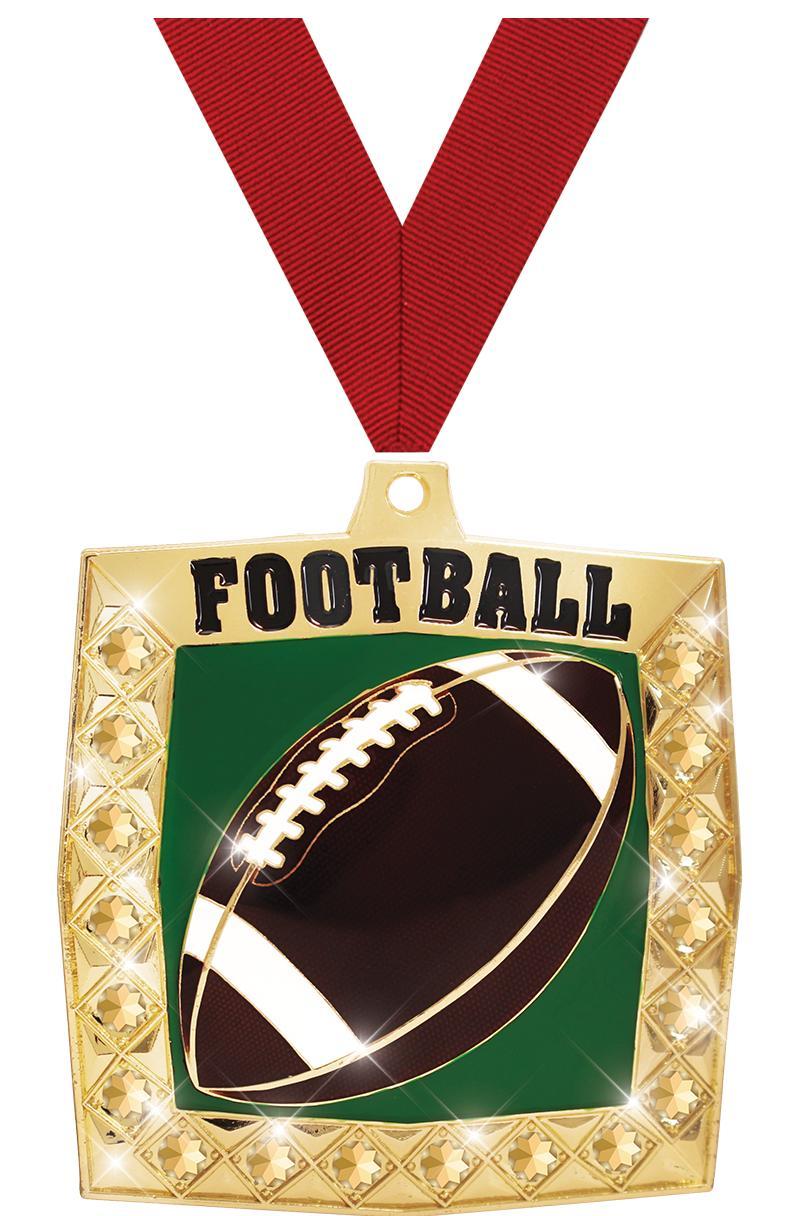 "2 1/4"" Football Bling 4.0 Medals"