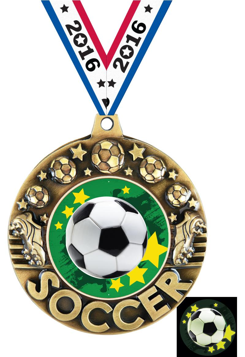 """2 1/4"""" Soccer Glow In The Dark Majestic Medals"""