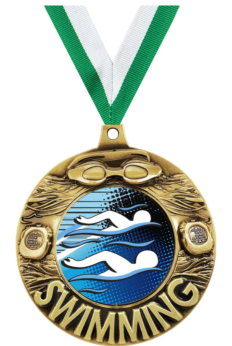 "2 1/4"" Swimming Majestic Medals"