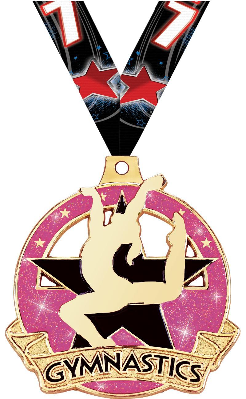 """2"""" Shimmer Glitter Female Gym Medal"""