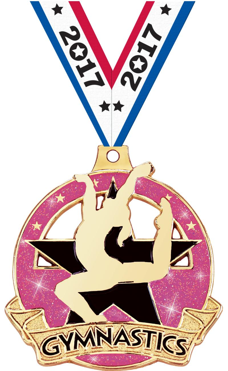 "2"" Shimmer Glitter Female Gym Medal"