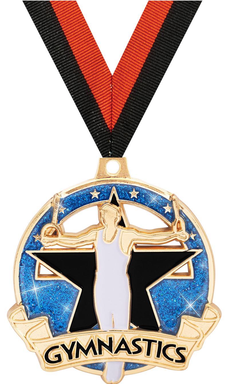 "2"" Shimmer Glitter Gym Male Medals"