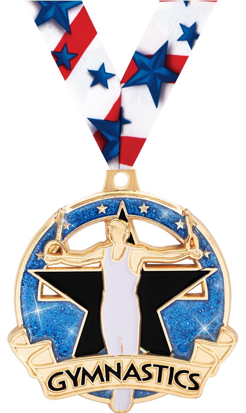 "2"" Shimmer Glitter Gym Male Medals"