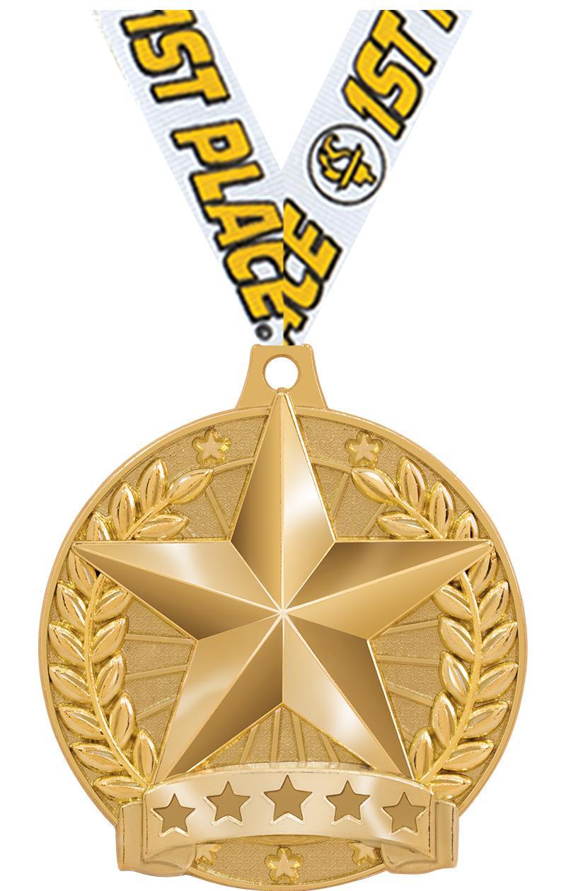 "2"" HERO STAR MEDAL SHINY GOLD"