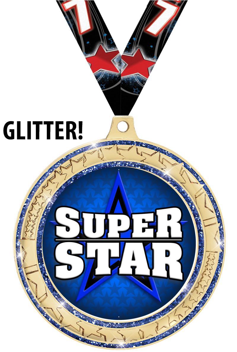 """2 ¾""""  Star Trail Insert Blue Medal"""