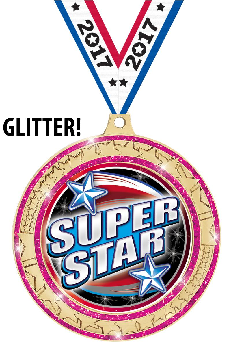 "2 ¾"" Star Trail Glitter Insert Pink Medal"