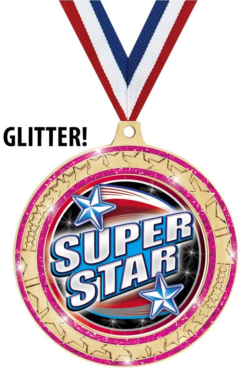"2 ¾"" Star Trail Insert Pink Medal"