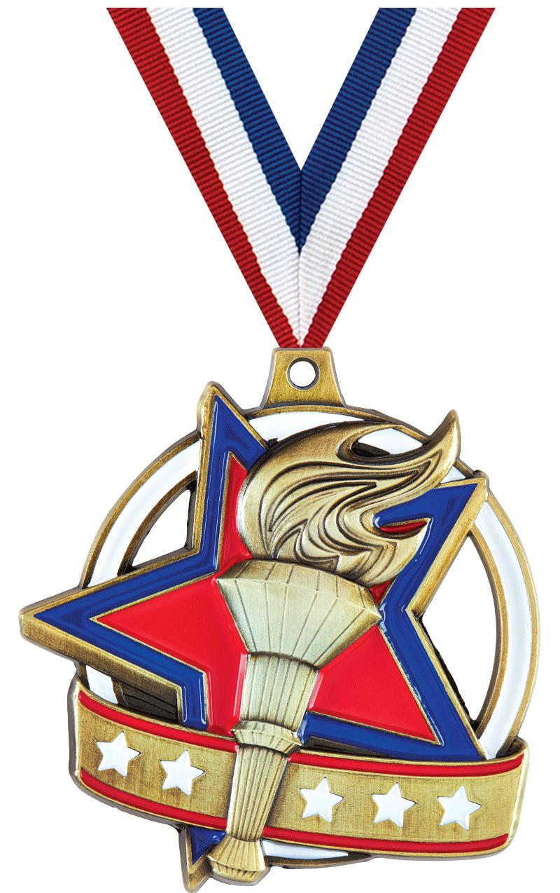 """2"""" LIBERTY TORCH GOLD MEDAL"""