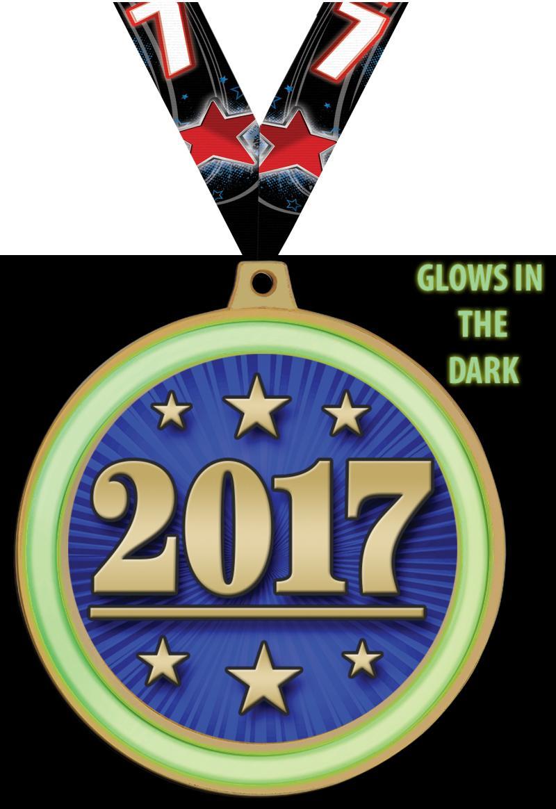 """2 1/2"""" Glow In The Dark Insert Medal"""