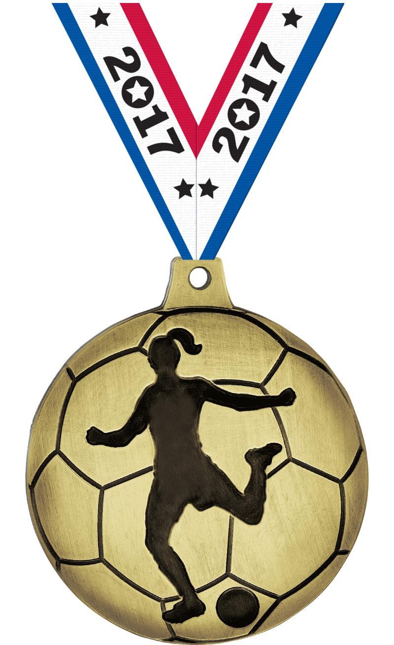 Female Soccer Silhouette Medal