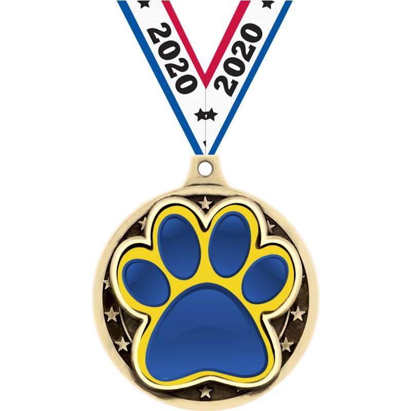 "2"" PAW PRINT INSERT MEDAL GOLD"