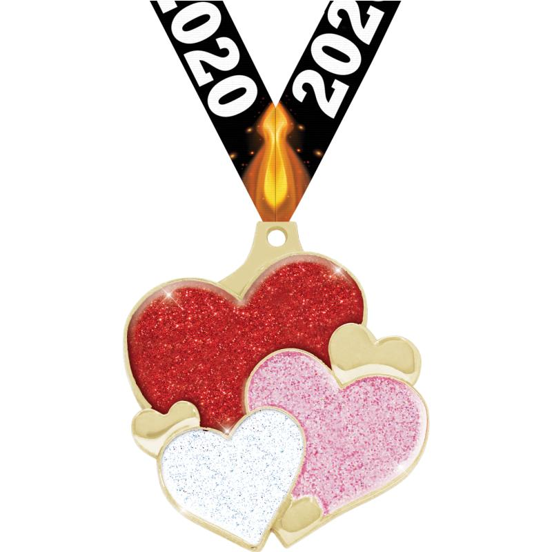 "2"" HEARTS GLITTER GOLD MEDAL"