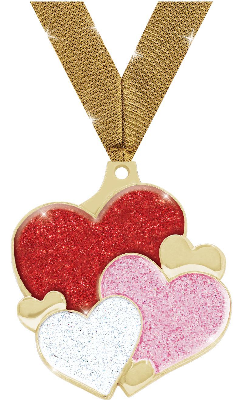 "2"" HEARTS GLITTER GOLD MEDAL"
