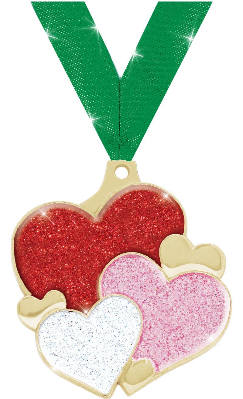 "2"" Hearts Glitter Medal"
