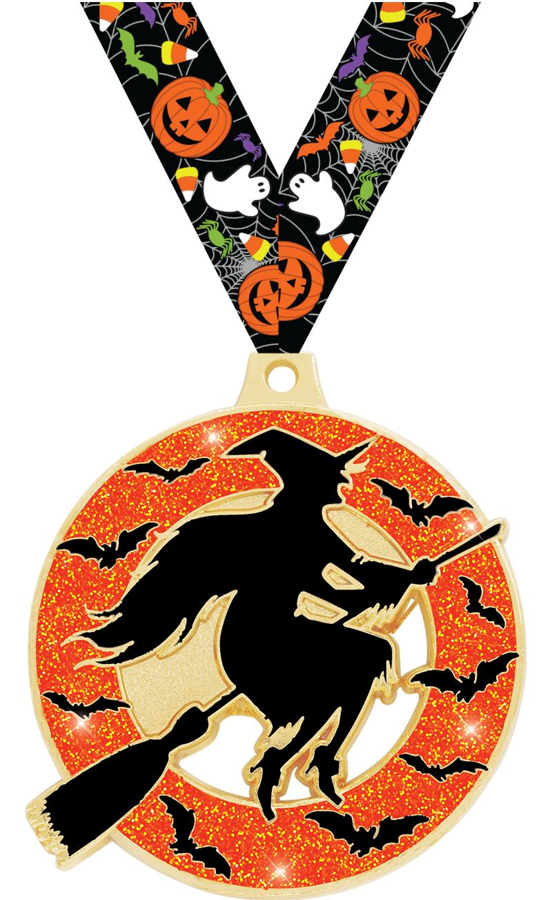 """2"""" Witch Glitter Medal"""