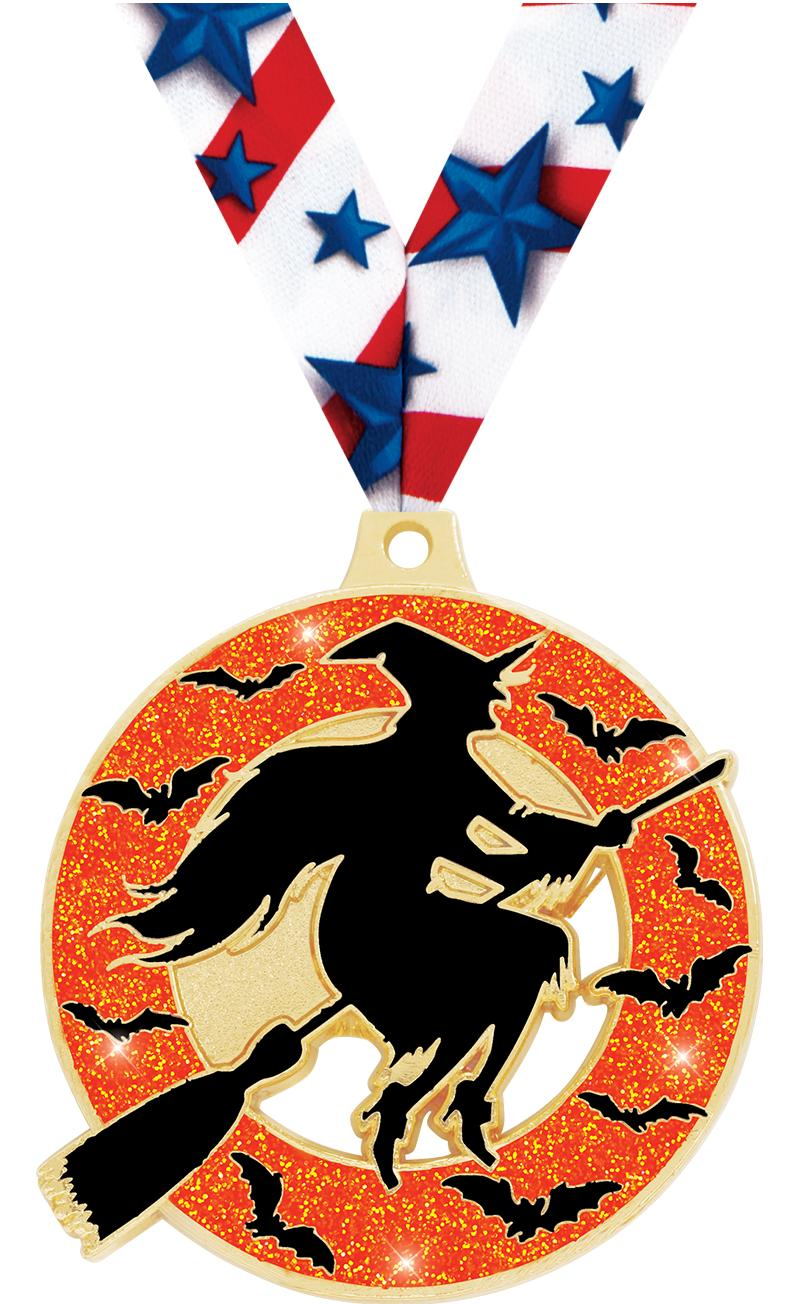 "2"" Witch Glitter Medal"