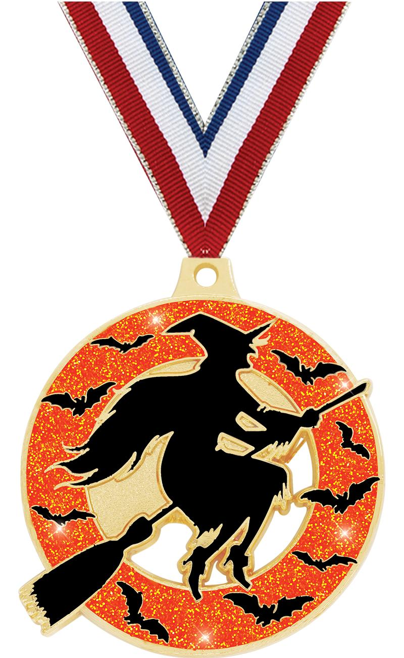 "2"" WITCH GLITTER GOLD MEDAL"