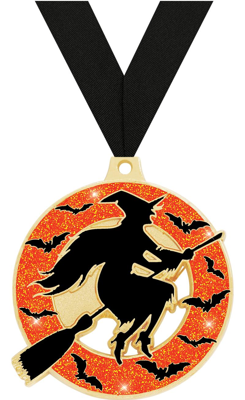 """2"""" WITCH GLITTER GOLD MEDAL"""