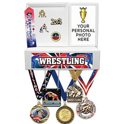 Wrestling Medals Wall Mount Display
