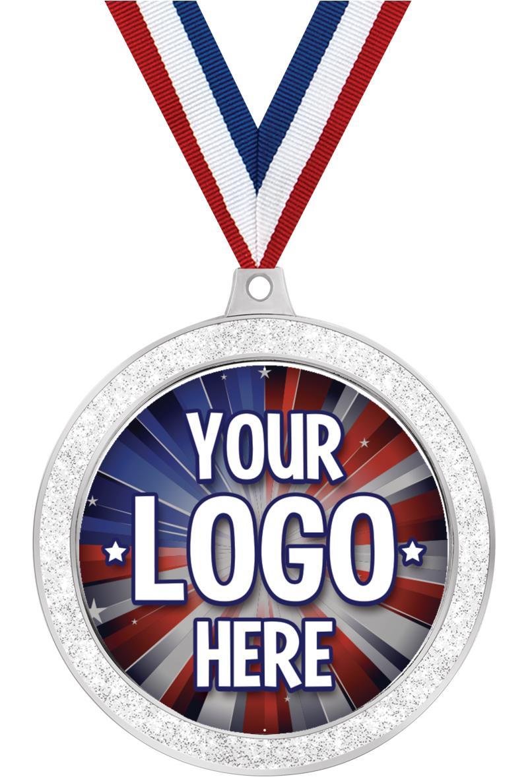 "2 1/2"" i9 Sports Custom Silver Glitter Medal"