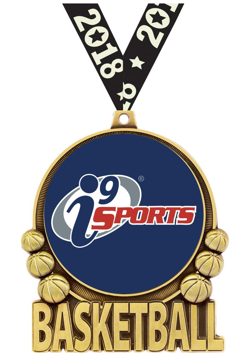 """3"""" i9 Double Action Basketball Medals"""