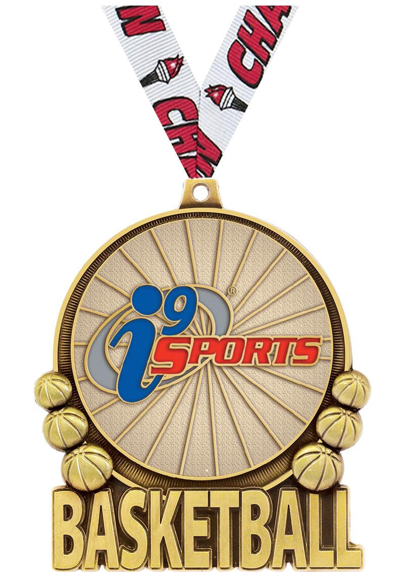 "3"" i9 Double Action Basketball Medals"
