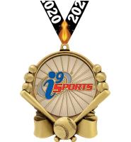 "3"" i9 Sports Double Action Baseball Medals"