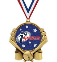 """3"""" i9 Sports Double Action Baseball Medals"""