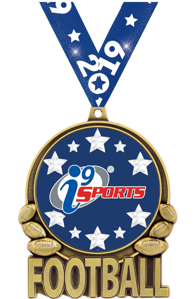 """3"""" i9 Sports Double Action Football Medals"""