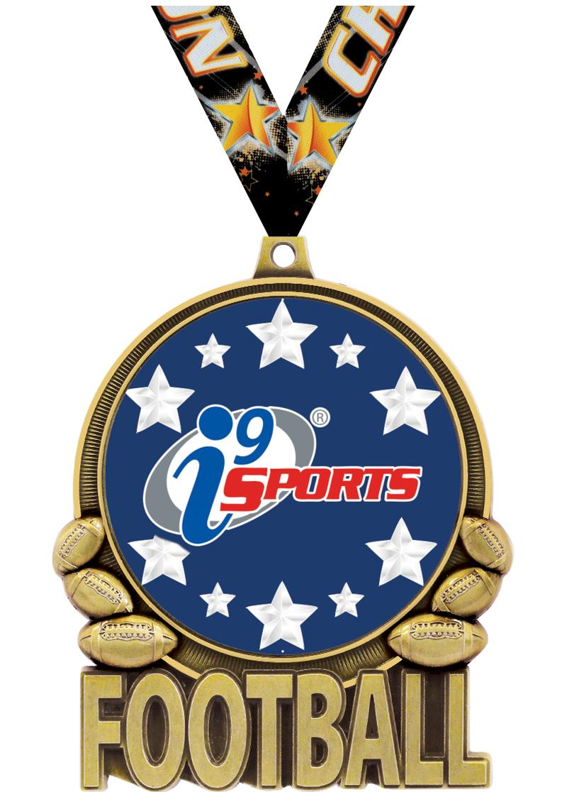 "3"" i9 Double Action Football Medals"