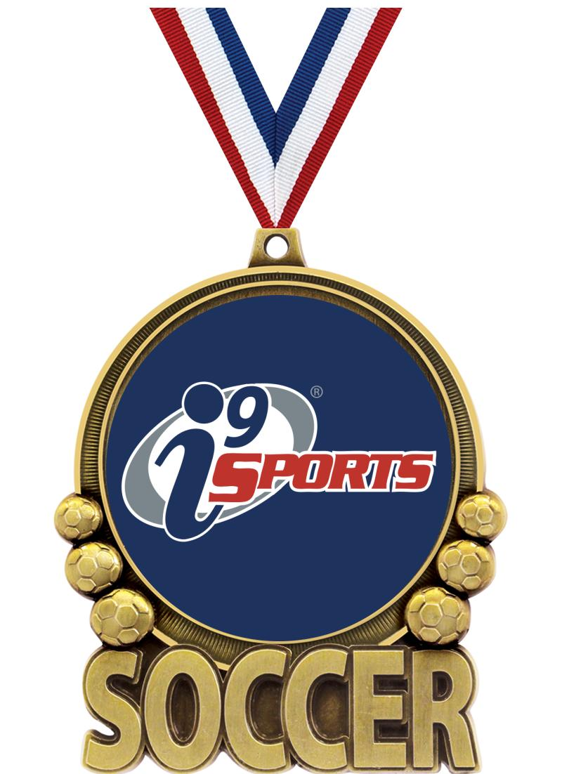 "3"" i9 Double Action Soccer Medals"