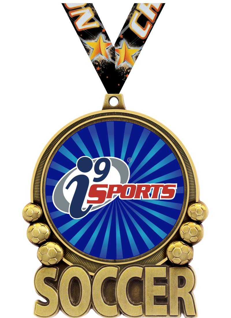 """3"""" i9 Double Action Soccer Medals"""