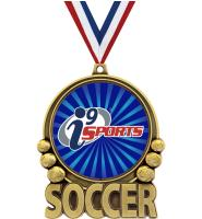 """3"""" i9 Sports Double Action Soccer Medals"""