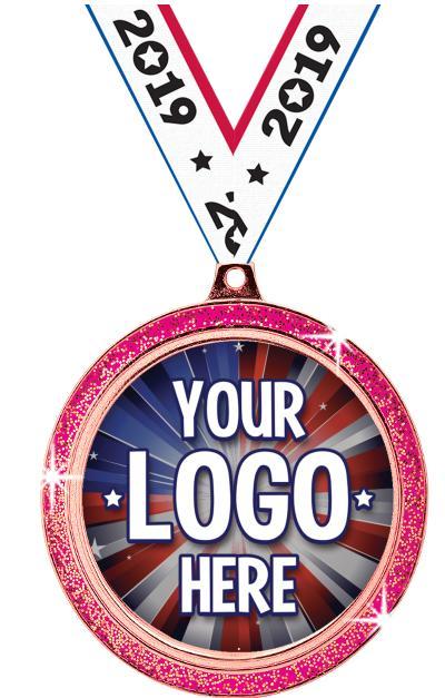 "2 1/2"" i9 Sports Custom Pink Glitter Medal"