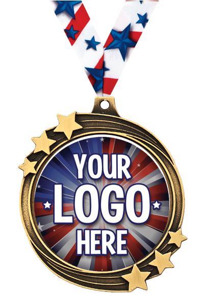 "2 1/2"" i9 Sports Custom Shooting Star Medals"