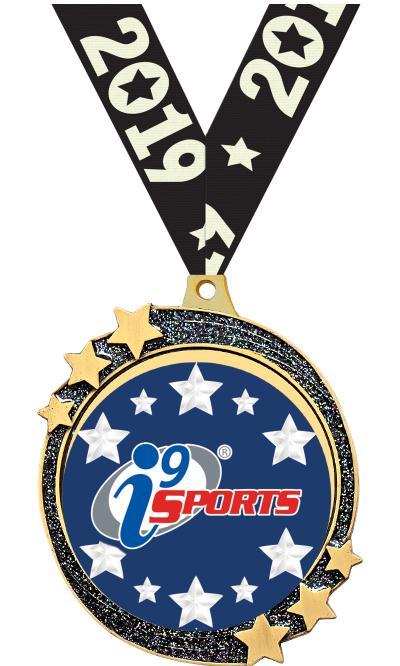 "2 1/2"" i9 Sports Black Glitter Shooting Star Medal"