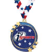 "2 1/2"" i9 Sports Blue Glitter Shooting Star Medal"