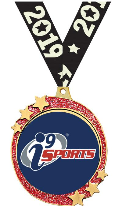 """2 1/2"""" i9 Sports Red Glitter Shooting Star Medal"""