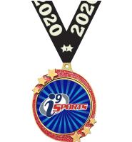 "2 1/2"" i9 Sports Red Glitter Shooting Star Medal"