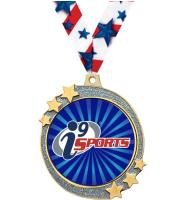 "2 1/2"" i9 Sports Silver Glitter Shooting Star Medal"