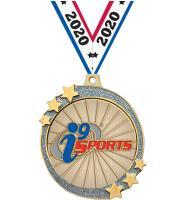 "2 1/2"" i9 Sports Silver Glitter Shooting Star Medal"