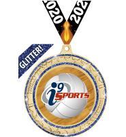 """2 3/4"""" i9 Sports Blue Star Trail Glitter Insert Medal"""