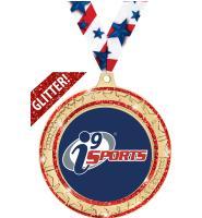 "2 3/4"" i9 Sports Red Star Trail Glitter Insert Medal"