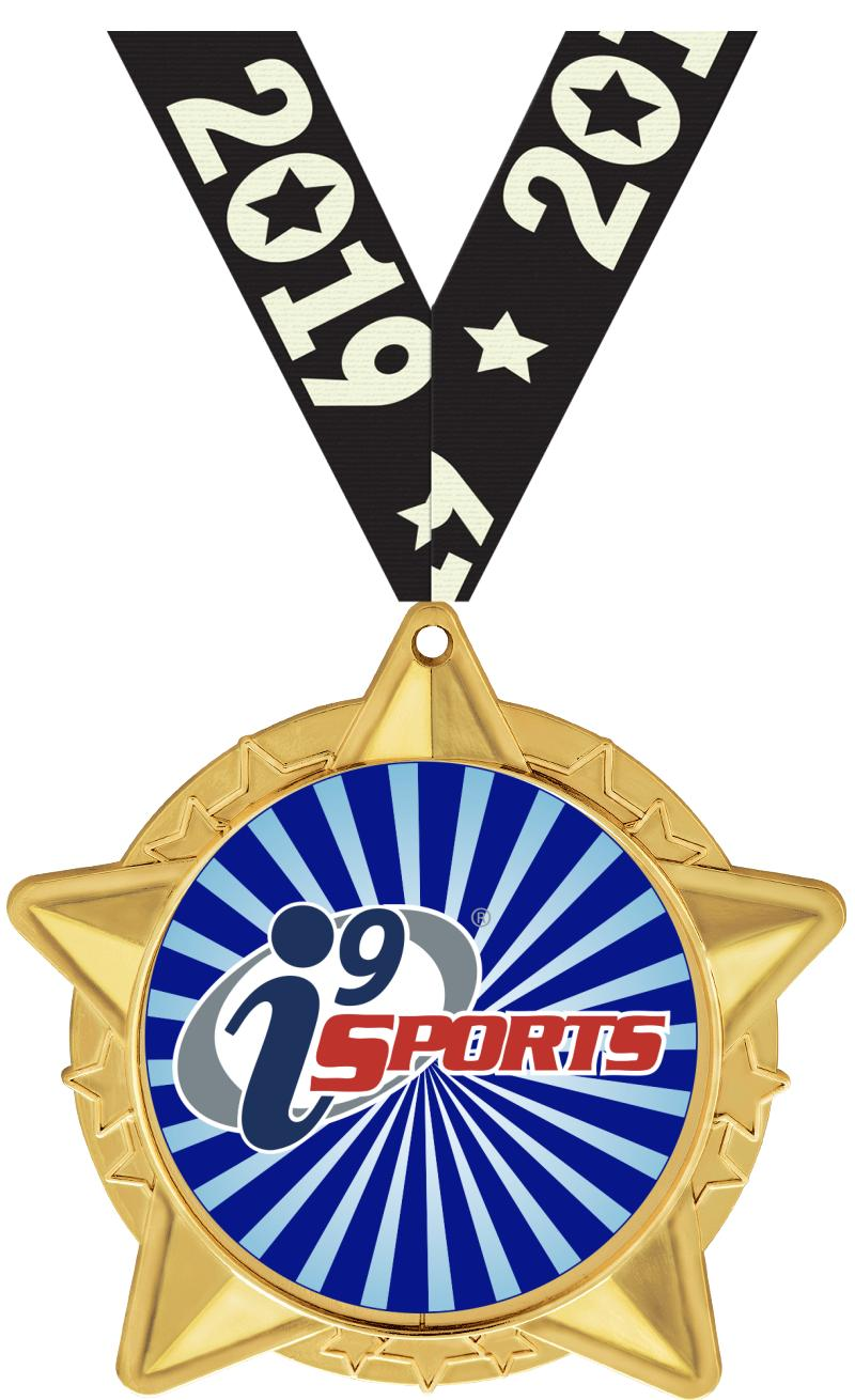 """2 1/2""""  i9 Sports Star Cluster Insert Medals"""