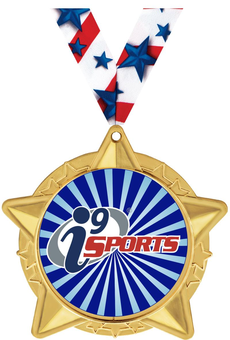 "2 1/2""  i9 Sports Star Cluster Insert Medals"
