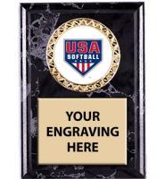 USA Softball Black Marbleized Insert Plaques
