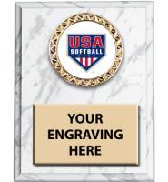 USA Softball White Marbleized Insert Plaques