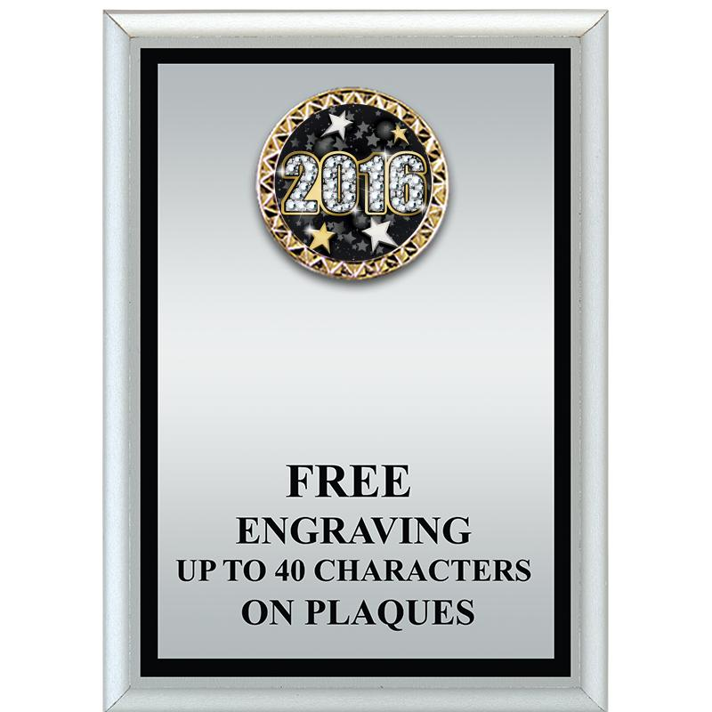 Silver Metalized Plaque With Black Border