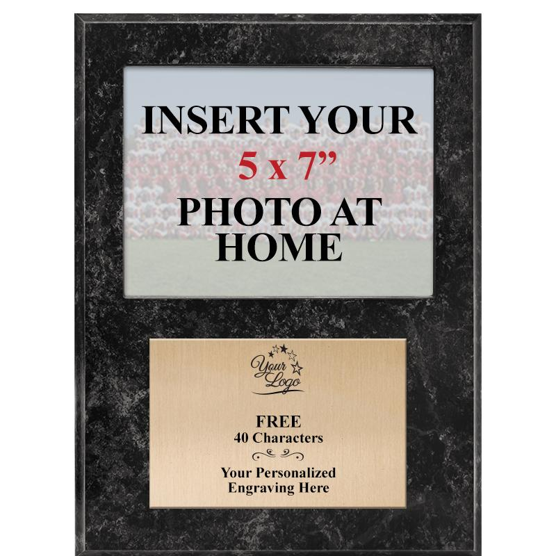 Black Marbleized Vertical Team Photo Plaque